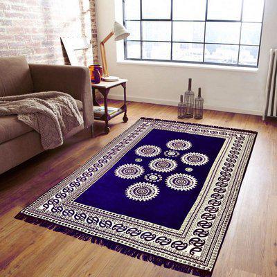 Supreme Home Collective Blue Polyester Carpet(138 cm X 205 cm)