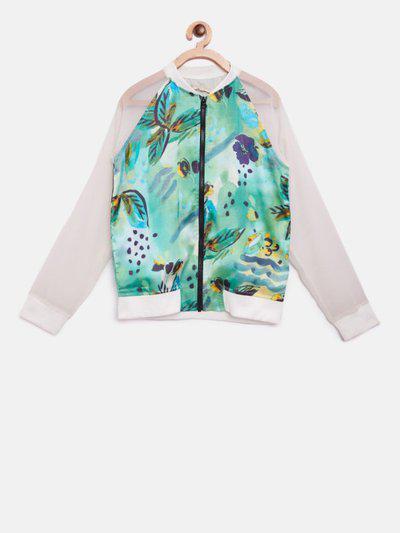 Gini & Jony Full Sleeve Printed Baby Girls Jacket