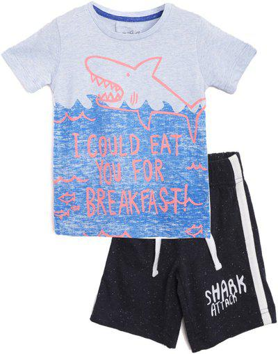 Lazy Shark Boys Casual T-shirt Shorts(Grey)