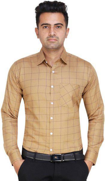 ShopyBucket Men Checkered Formal Khaki, Blue Shirt