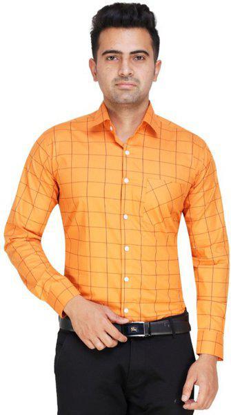 ShopyBucket Classic Cross Check Modern Pattern Shirt Cotton Satin Full Sleeves Formal Regular Fit Shirt for Men Orange