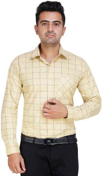 ShopyBucket Classic Cross Check Modern Pattern Shirt Cotton Satin Full Sleeves Formal Regular Fit Shirt for Men Light Yellow