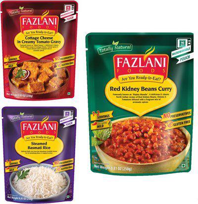 FAZLANI FOODS Masala, Shahi Paneer & Steamed Basmati Rice (Pack of 3, 250gm ) 750 g