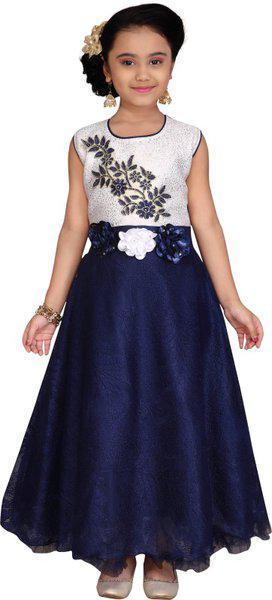 Kidling Girl's Net Embellished Sleeveless Gown - Blue & White