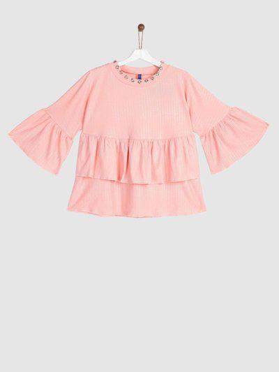 Yk Girls Polycotton Blouson Top(Pink, Pack of 1)