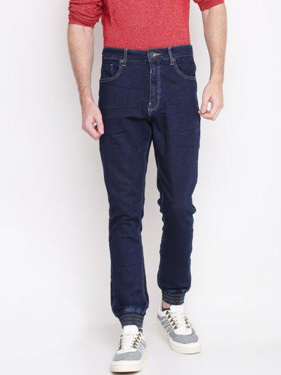 United Colors Of Benetton Men Navy Blue Mid-rise Clean Look Stretchable Joggers
