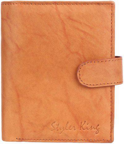 Styler King Men Casual Tan Genuine Leather Wallet(6 Card Slots)