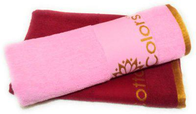 Cotton Colors Cotton Terry 450 GSM Bath Towel(Pack of 2, Red, Pink)