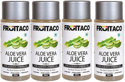 fruitaco Aloe Vera Drinking gel(Juice) 1000ml with Rich Pulp Pack Of 4(4 x 500 ml)