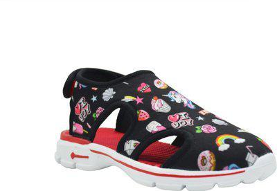KazarMax Boys & Girls Velcro Flats(Black)