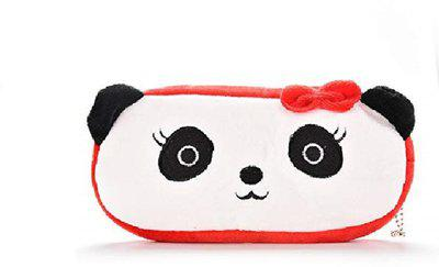 24x7eMall Lady Panda emoji Art Canvas Pencil Box(Set of 1, White)
