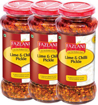 FAZLANI FOODS Ready to Eat Lime & Chilli Pickle (Pack of 3, 300gm each) Lime, Green Chilli Pickle(900 g, Pack of3)