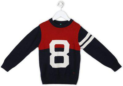 Palm Tree Woven Round Neck Casual Boys Multicolor Sweater