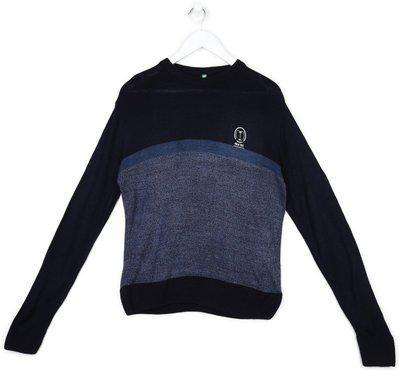 Palm Tree Solid Round Neck Casual Boys Dark Blue Sweater