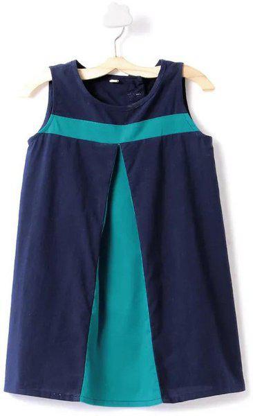 Pikaboo Girls Midi/Knee Length Festive/Wedding Dress(Blue, Sleeveless)