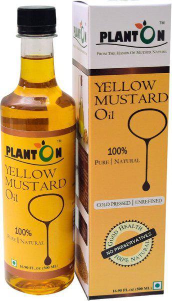 Planton Cold-Pressed Yellow Mustard Oil Plastic Bottle(500 ml)