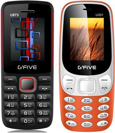 GFive U873 & U331 Combo of Two Mobiles(Black Red : Orange)