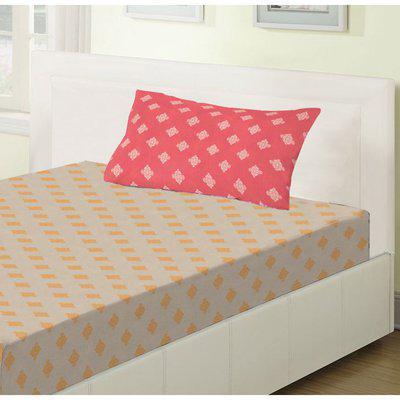 Emilia Cotton Single Bedsheets in Beige Colour Living Essence