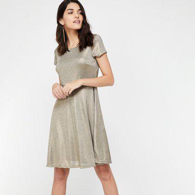 VERO MODA Metallic Finish Fit And Flare Dress