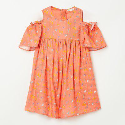 BOSSINI Floral Print Cold-Shoulder A-line Dress