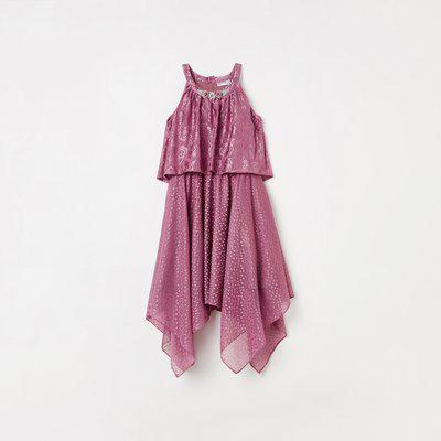 PEPPERMINT Cutaway Neck Dress with Handkerchief Hem