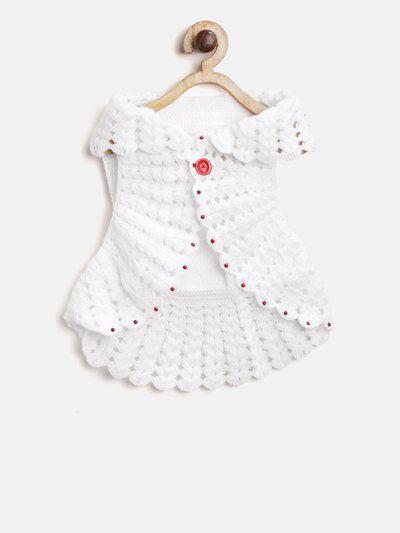 CHUTPUT Girls White Self Design Button Shrug