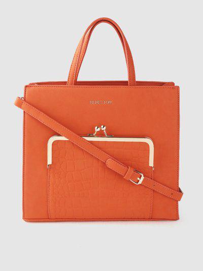 United Colors of Benetton Orange Croc-Textured Handheld Bag
