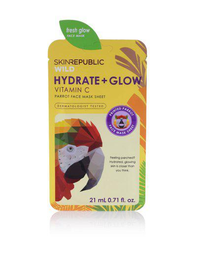 Skin Republic Hydrate plus Glow Vitamin C Parrot Face Mask Sheet 21 ml