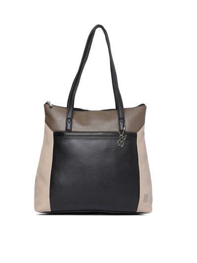 Baggit Black & Beige Colourblocked Shoulder Bag