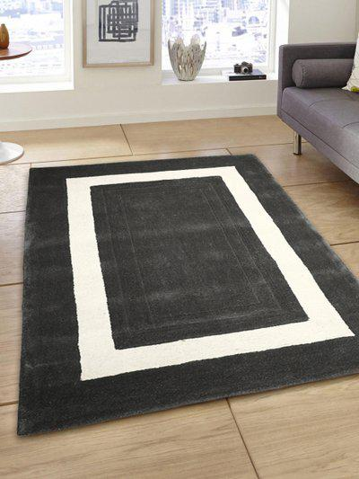 PRESTO Grey and Whiite Printed Woolen Carpet