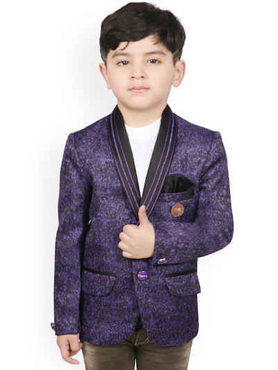 SG YUVRAJ Boys Purple Self-Design Regular-Fit Tuxedo Blazer