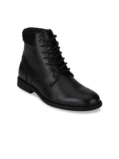 Red Tape Leather Ankle Boots For Men(Black)