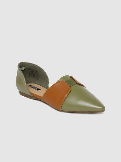 Allen Solly Women Green & Tan Brown Colourblocked Leather Flats