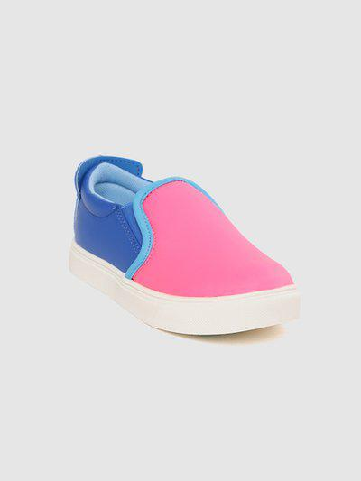 United Colors of Benetton Kids Pink & Blue Colourblocked Slip-On Sneakers