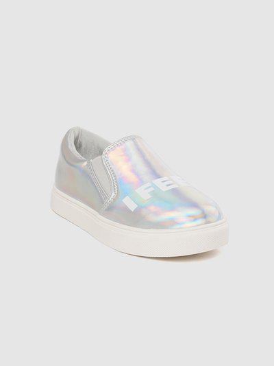 United Colors of Benetton Kids Silver-Toned Holographic Slip-On Sneakers
