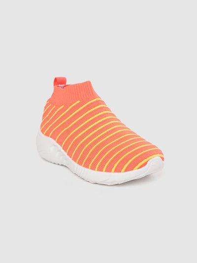 United Colors of Benetton Kids Coral Orange & Yellow Striped Slip-On Sneakers