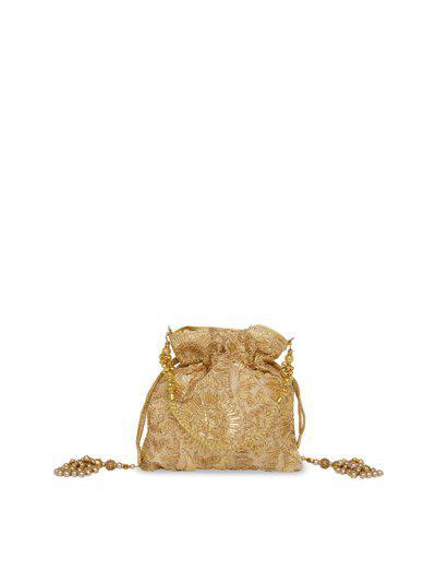 Tarusa Gold-Toned Embellished Potli Clutch