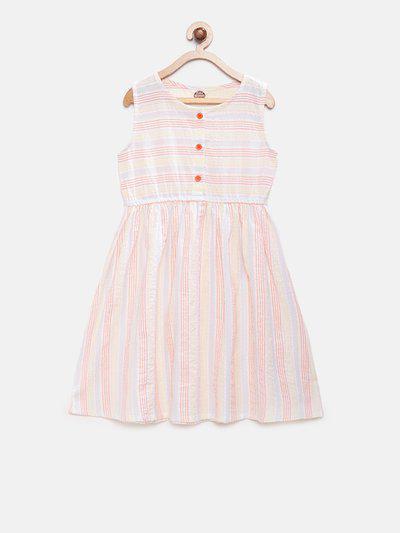 Cub McPaws Girls Cream-Coloured Striped A-Line Dress