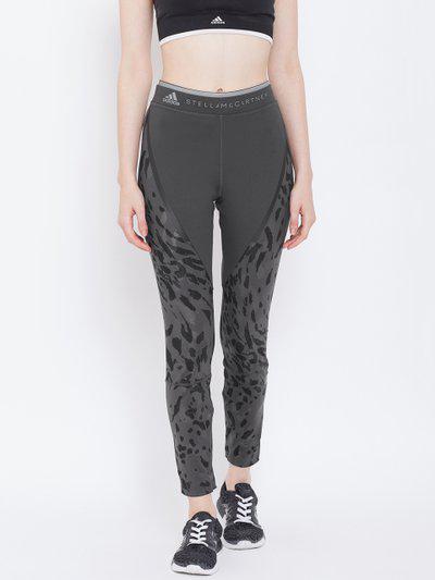 ADIDAS Stella McCartney Women Charcoal Grey Printed Long Running Tights