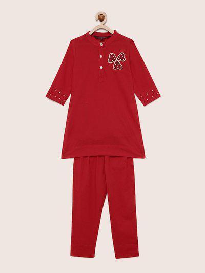 Sangria Girls Red Embroidered Kurta with Pyjamas