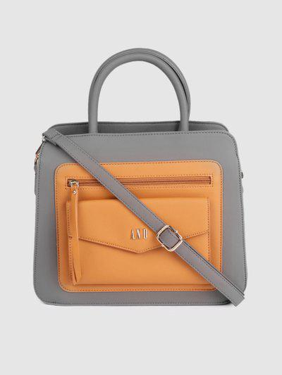 AND Grey & Brown Colourblocked Handheld Bag