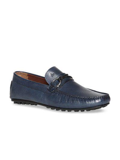 Arrow Men Blue Solid Leather Horsebit Loafers