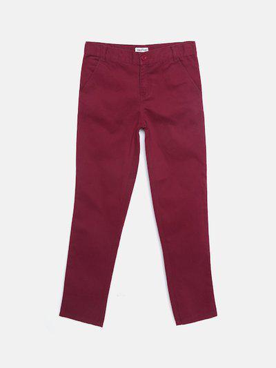 Nauti Nati Boys Burgundy Regular Fit Solid Regular Trousers
