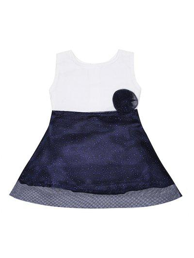Luke & Lilly Girls Blue & White Self Design Fit and Flare Dress