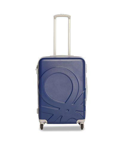 United Colors of Benetton Unisex Blue & Red Solid Trolley Suitcase