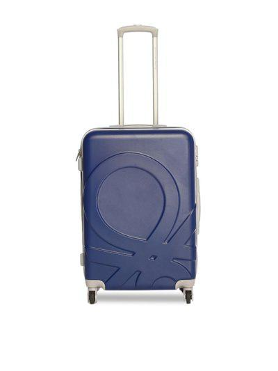United Colors of Benetton Unisex Blue & Red Colourblocked Trolley Suitcase