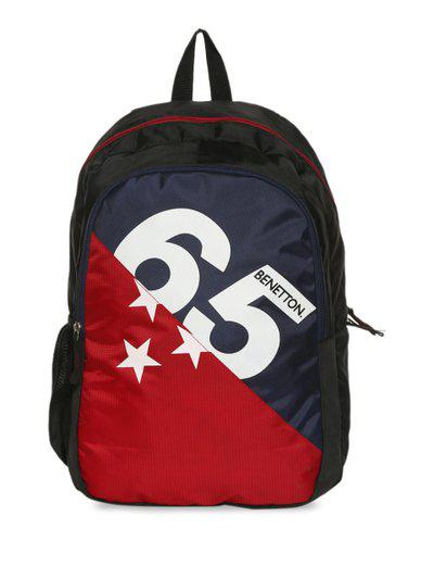 United Colors of Benetton Unisex Blue & Red Colourblocked Backpack