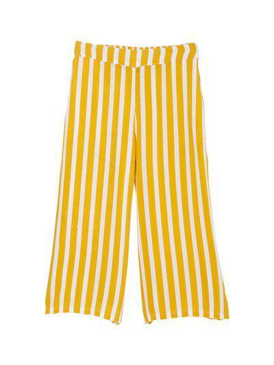 Cub McPaws Girls Mustard & White Striped Flared Palazzos