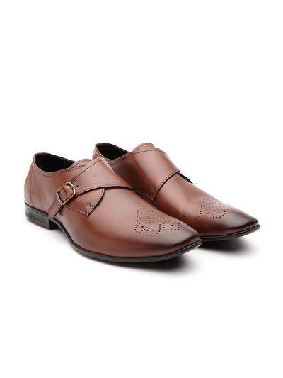 Carlton London Men's Tan Leather Sneakers (43 EU) (CLM-1970)