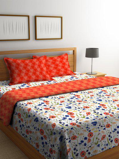 Portico New York White & Orange Floral 144 TC Bedding Set